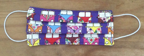 Purple Camper Van Print Face Mask - Miss Pretty London UK Limited