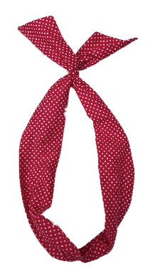 Red Polka Dot Print Wire Headband