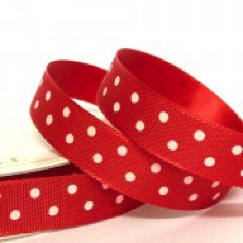 Red Polka Dot Ribbon - 10mm Wide - Miss Pretty London UK Limited