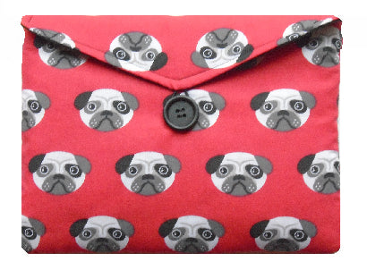 Red Pugs Print Tablet Bag