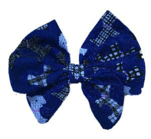 Royal Blue Scottie Dogs Cotton Hair Bow Clip
