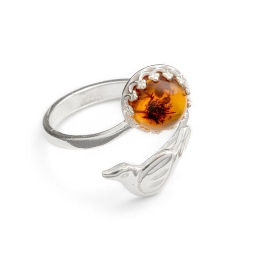 Adjustable Sterling Silver Bird Ring - Choice of Stones Available - Miss Pretty London UK Limited