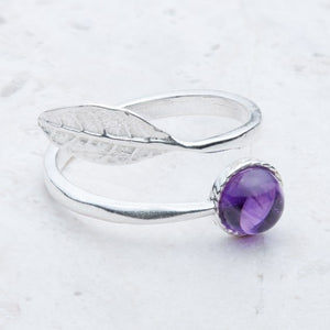 Adjustable Sterling Silver Leaf Ring - Choice of Stones Available - Miss Pretty London UK Limited