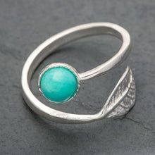 Load image into Gallery viewer, Adjustable Sterling Silver Leaf Ring - Choice of Stones Available - Miss Pretty London UK Limited