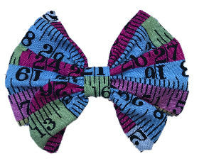 Tape Measure Cotton Hair Bow Clip