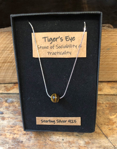 Tigers Eye Gemstone and Sterling Silver Necklace