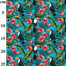Aqua Tiki Toucan Print Cotton Craft Fabric