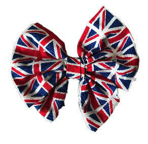 Union Flag Cotton Hair Bow Clip