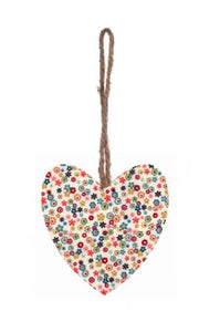 Vintage Daisy Print Plump Fabric Hanging Heart