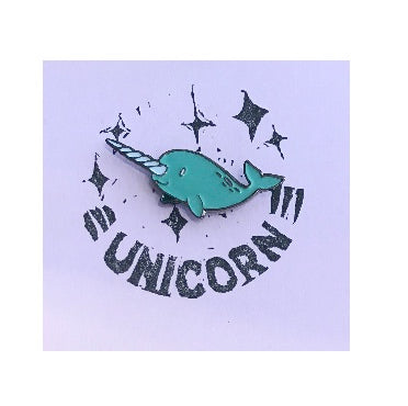 Whale Unicorn Pin Badge