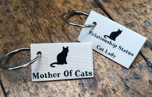 Wooden Cat Lovers Keyring