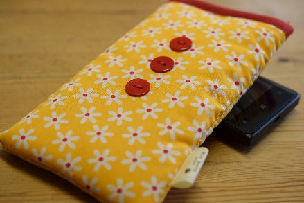 Yellow Daisy Print Mobile Phone Sock Pouch - Miss Pretty London UK Limited