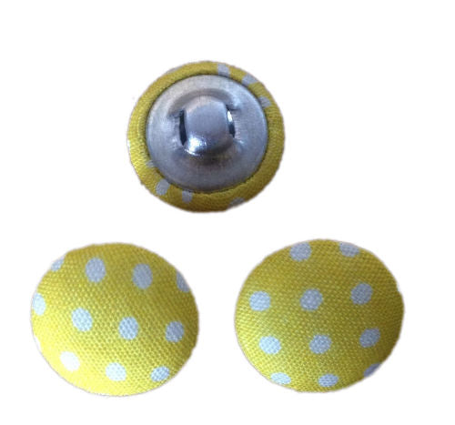 Yellow Polka Dot Fabric Craft Buttons - Pack of 3