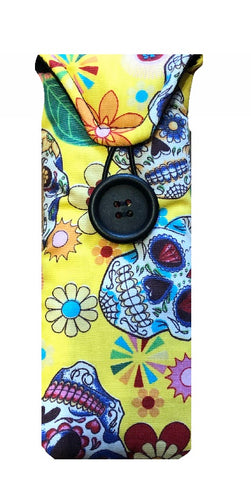 Yellow Mexican Skulls Print Glasses Case
