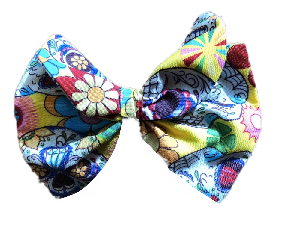Yellow Skulls Print Cotton Hair Bow Clip