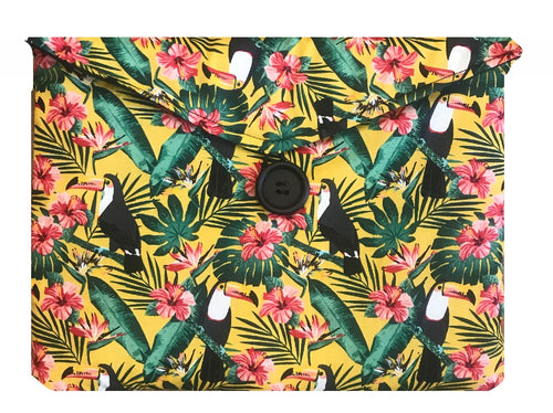 Yellow Tiki Toucan Print Tablet Bag