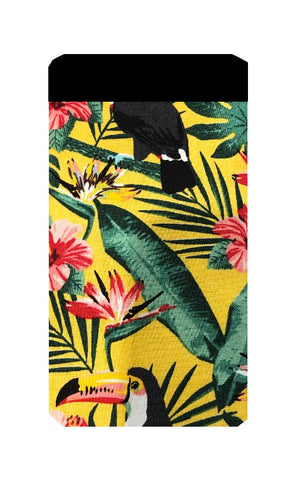 Yellow Toucan Print Mobile Phone Sock Pouch