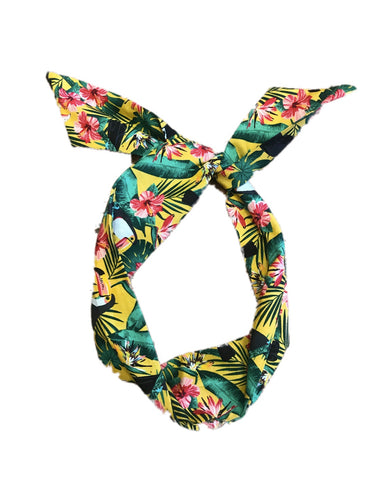 Yellow Toucan Print Wire Headband
