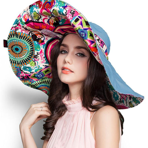 Fashion Design Flower Foldable Brimmed Sun Hat Summer