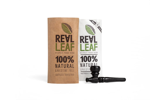 RealLeaf herbal tobacco kit natural&wild include wood smoking pipe