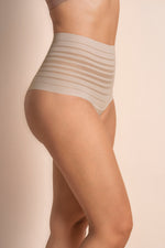 Lace Stripe High-Waisted Cheeky Hipster Panty