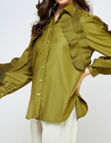 Olive Green Frill Shirt
