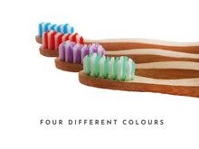 Load image into Gallery viewer, colour bristles bamboo toothbrushes green blue red purple