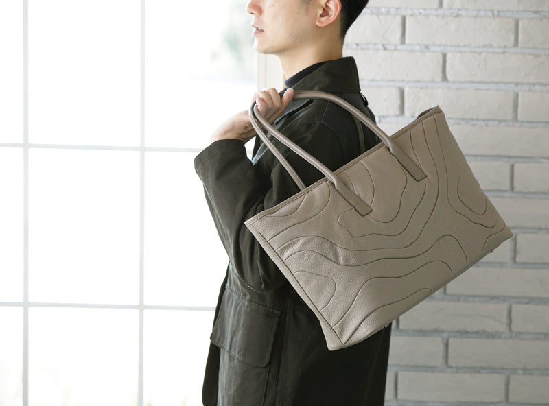 WIDE TOTE Taupe custom