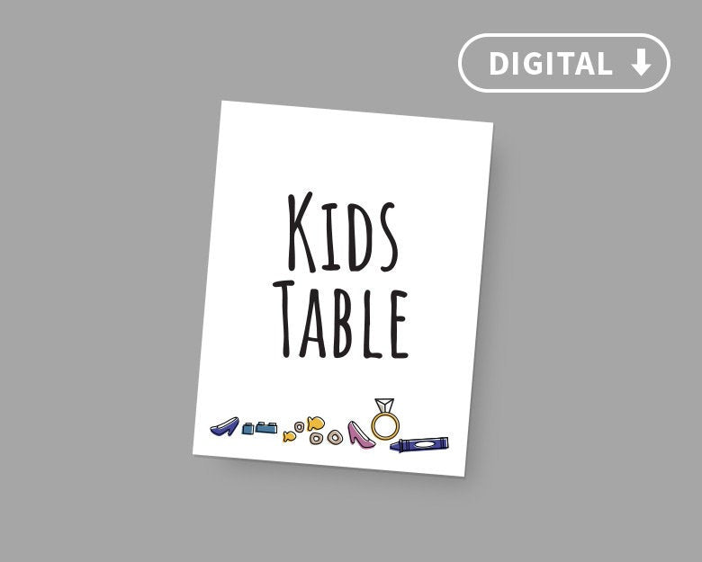 Digital Wedding Squad Goals/Kid's Table Sign