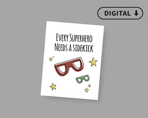 Superhero Sidekick Baby Announcement Photo Sign