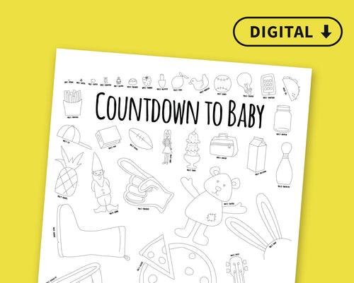 Digital Countdown to Baby Coloring Poster