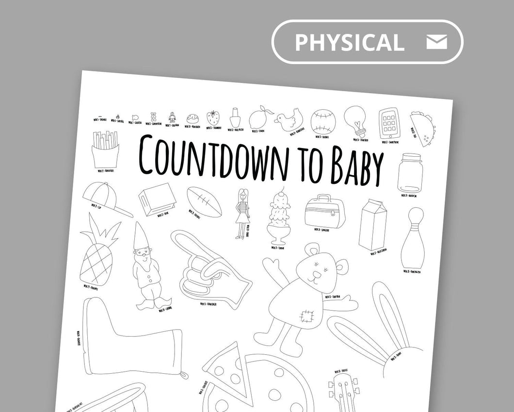 Countdown to Baby Coloring Poster For Siblings and Cousins