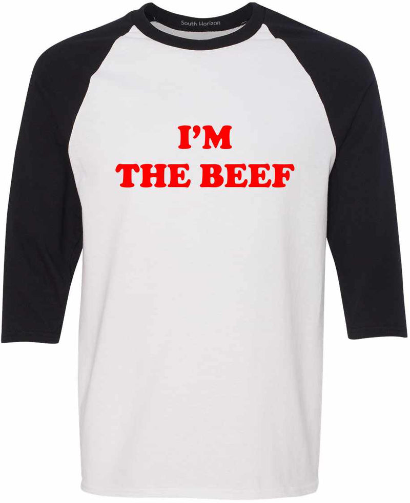 I'm The Beef Baseball Shirt - White/Black / Adult-SM - White/Black / Adult-MD - White/Black / Adult-LG - White/Black / Adult-XL - White/Black / Adult-2X - White/Black / Adult-3X