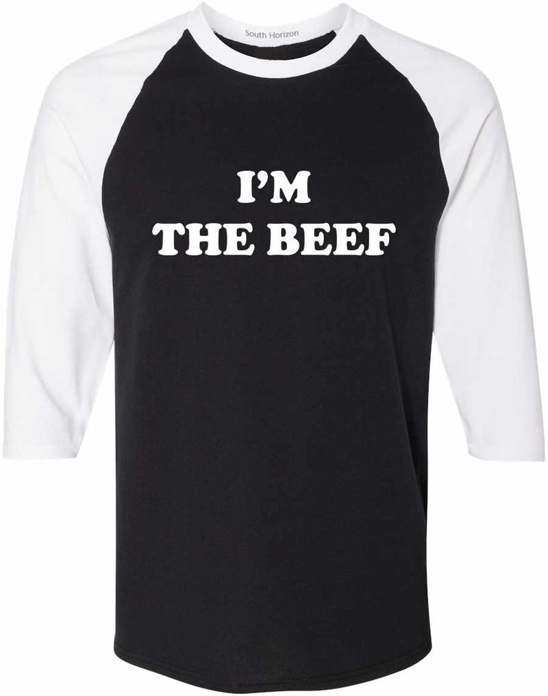 I'm The Beef Baseball Shirt - Black/White / Adult-SM - Black/White / Adult-MD - Black/White / Adult-LG - Black/White / Adult-XL - Black/White / Adult-2X - Black/White / Adult-3X