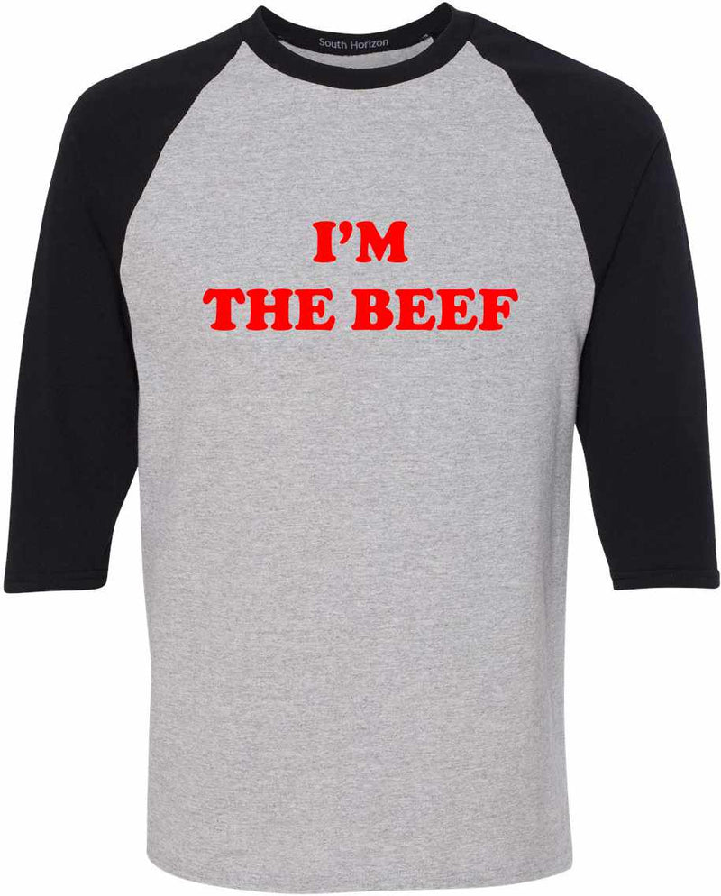 I'm The Beef Baseball Shirt - Sport Gray/Black / Adult-SM - Sport Gray/Black / Adult-MD - Sport Gray/Black / Adult-LG - Sport Gray/Black / Adult-XL - Sport Gray/Black / Adult-2X - Sport Gray/Black / Adult-3X