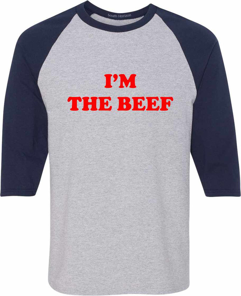 I'm The Beef Baseball Shirt - Sport Gray/Navy / Adult-SM - Sport Gray/Navy / Adult-MD - Sport Gray/Navy / Adult-LG - Sport Gray/Navy / Adult-XL - Sport Gray/Navy / Adult-2X - Sport Gray/Navy / Adult-3X