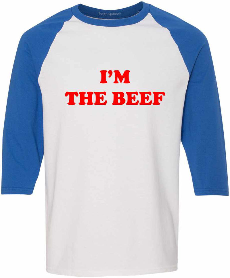 I'm The Beef Baseball Shirt - White/Royal / Adult-SM - White/Royal / Adult-MD - White/Royal / Adult-LG - White/Royal / Adult-XL - White/Royal / Adult-2X - White/Royal / Adult-3X