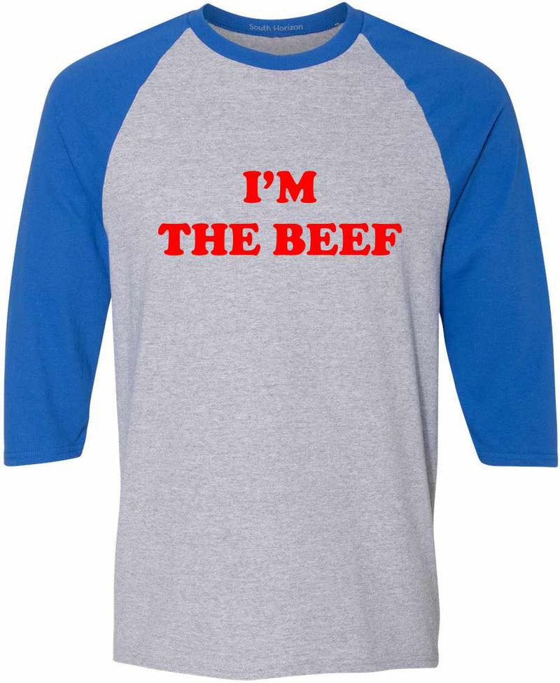 I'm The Beef Baseball Shirt - Sport Gray/Royal / Adult-SM - Sport Gray/Royal / Adult-MD - Sport Gray/Royal / Adult-LG - Sport Gray/Royal / Adult-XL - Sport Gray/Royal / Adult-3X
