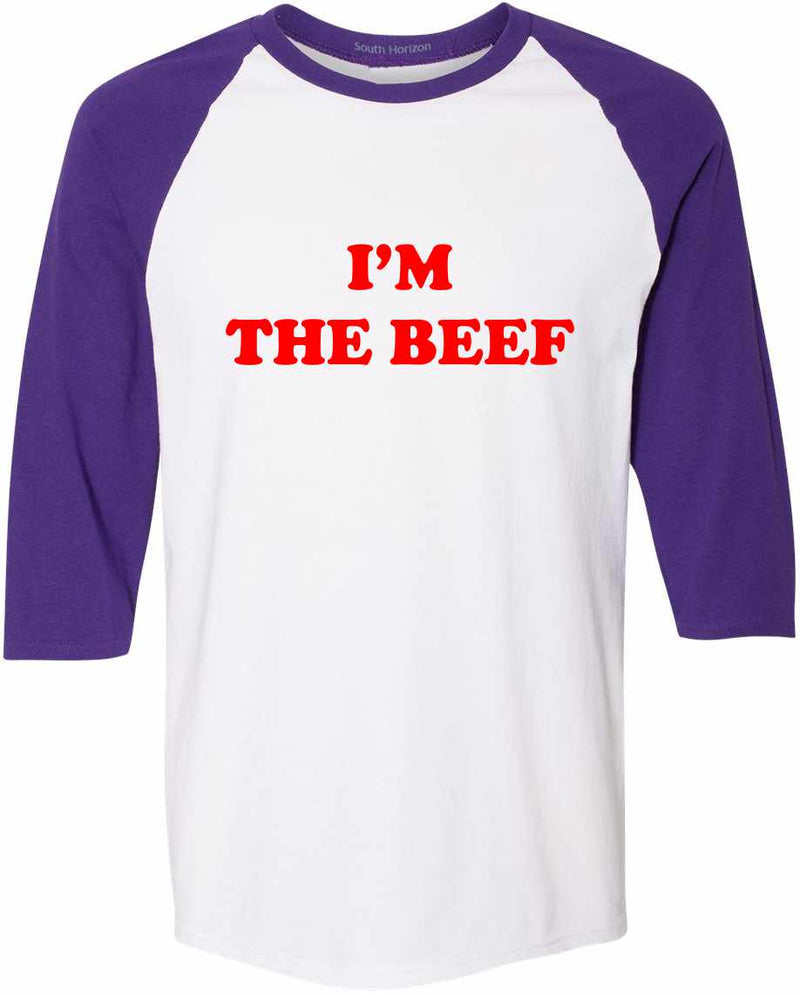 I'm The Beef Baseball Shirt - White/Purple / Adult-SM - White/Purple / Adult-MD - White/Purple / Adult-LG - White/Purple / Adult-XL - White/Purple / Adult-2X - White/Purple / Adult-3X
