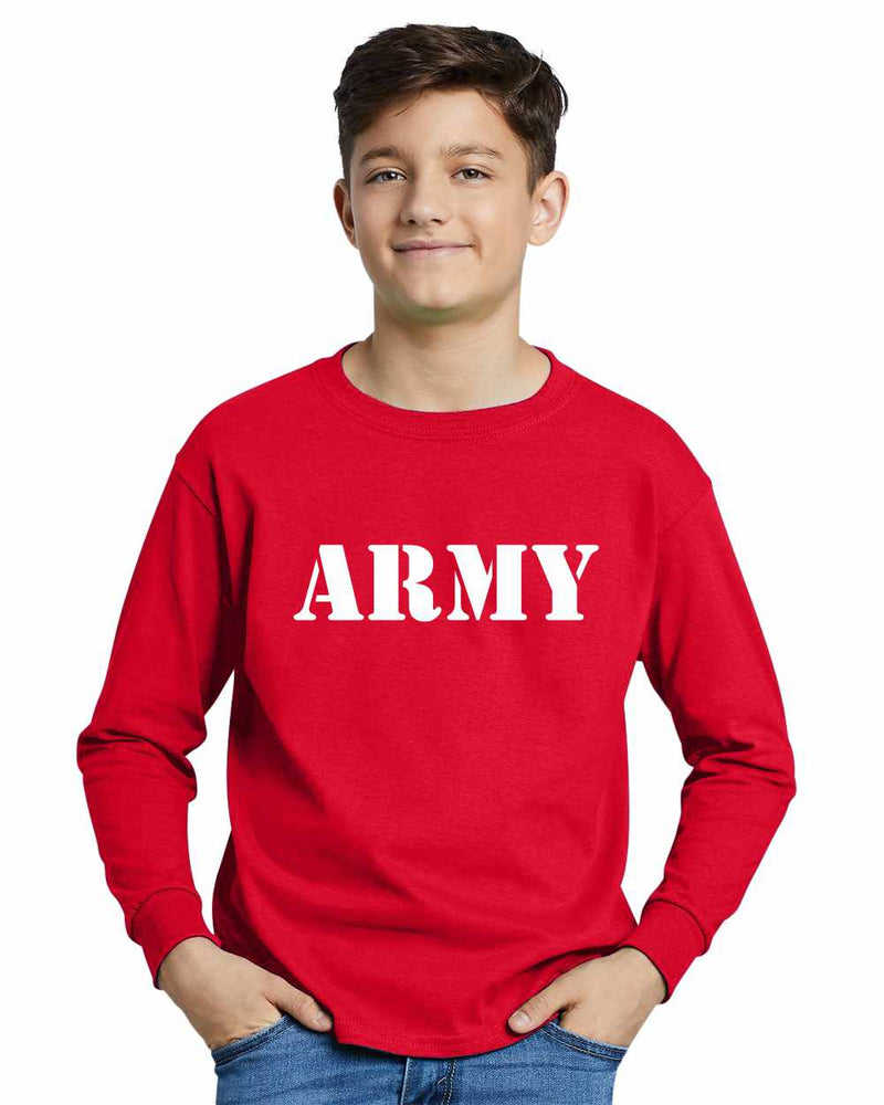 ARMY on Youth Long Sleeve Shirt
