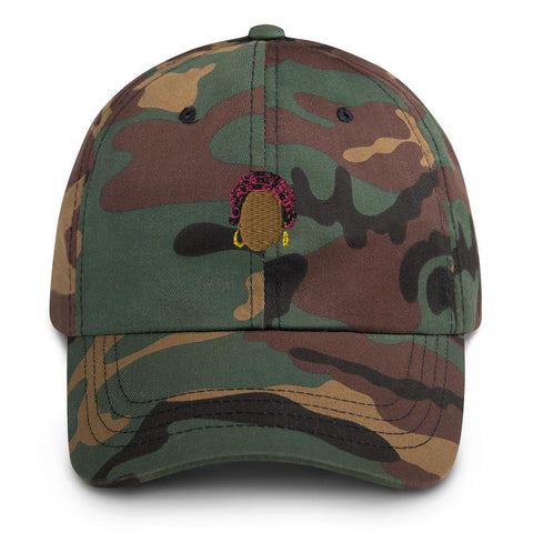 Yeaux Mama Green Camo 90s Auntie Dad Hat