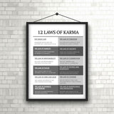 "Classic 12 Laws of Karma Poster 18"" x 24"""