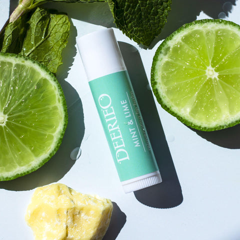 Deerieo Mint and Lime natural lip balm is refreshing, nourishing and helps relieve chapped and dry lips.