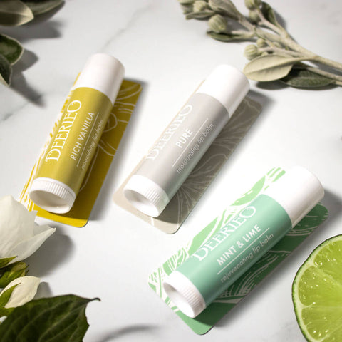 Deerieo vegan natural lip balms help combat dry, chapped skin, and nourish, soften and protect your lips.