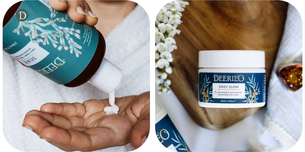Deerieo Selkie firming hand and body lotion and Daily Glow restorative face cream.