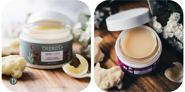 Deerieo Berry Clean and the Veil nourishing cleansing balms in glass jars.