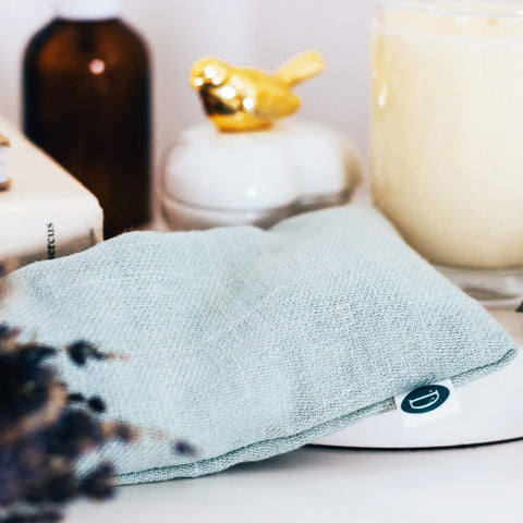 Deerieo Lavender and Flaxseed Eye Pillow in Duck Egg soft linen.