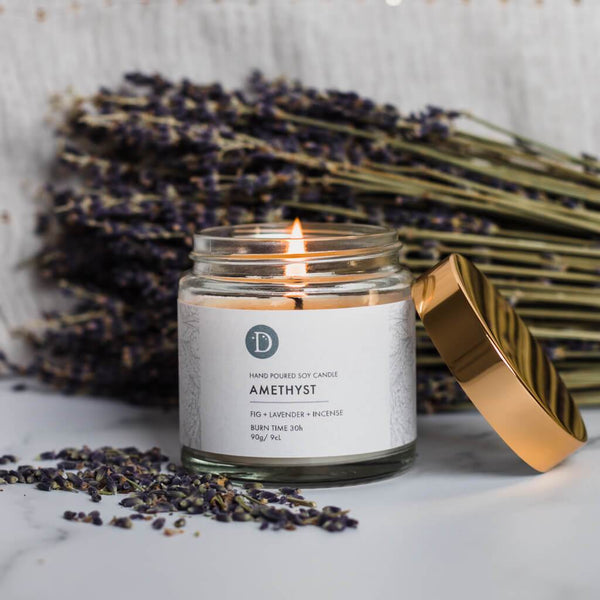 Deerieo Amethyst votive soy candle limited edition scented with fig, lavender, incense.