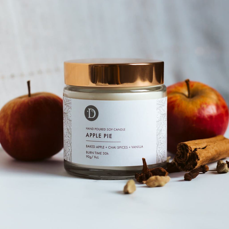 Deerieo Apple Pie votive soy candle limited edition scented with baked apple, chai spices, vanilla.
