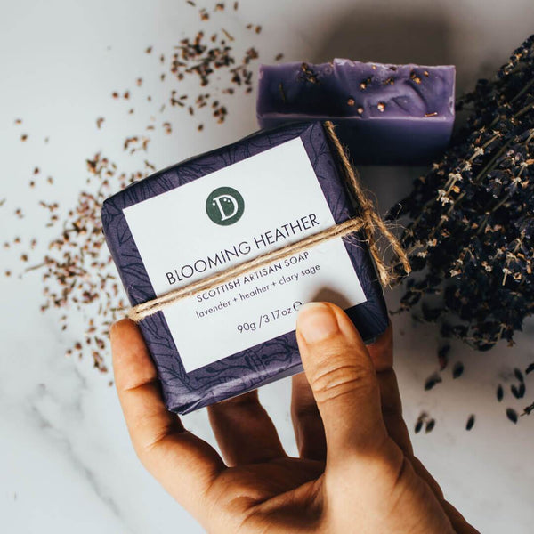 Deerieo Blooming Heather Soap is scented with lavender, clary sage and thyme for a relaxing bath.